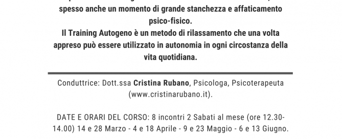 Training Autogeno a Ciampino